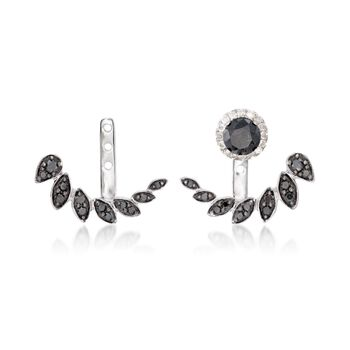 .28 ct. t.w. Black Diamond Front-Back Earring Jackets in 14kt White Gold, , default