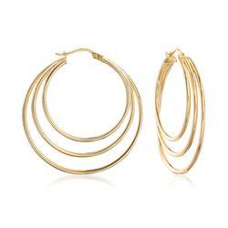 "14kt Gold Over Sterling Silver Triple Hoop Earrings. 1 3/8"", , default"