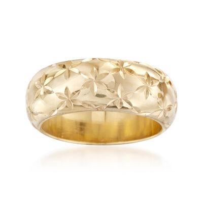 Andiamo 14kt Yellow Gold Diamond-Cut Ring, , default