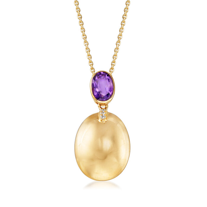 .80 Carat Amethyst Pendant Necklace with Diamond Accent in 14kt Yellow Gold