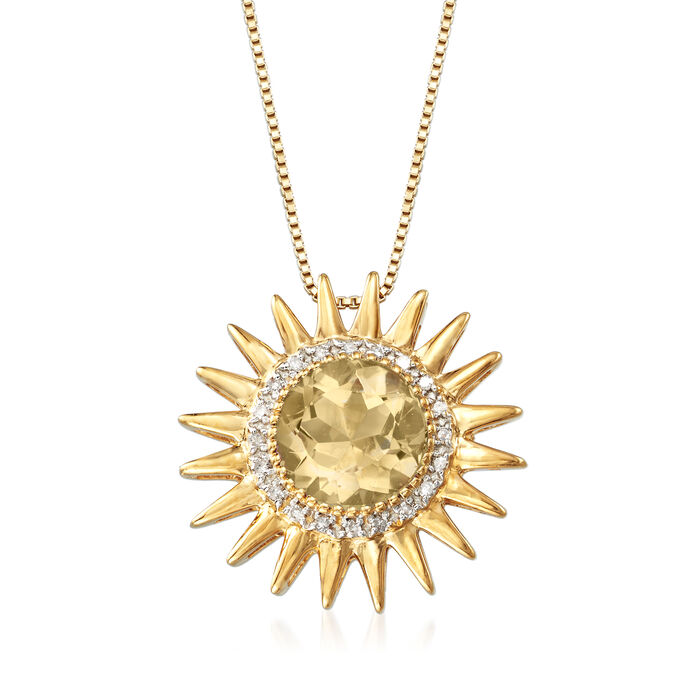 2.00 Carat Citrine and .10 ct. t.w. Diamond Sun Pendant Necklace in 18kt Gold Over Sterling