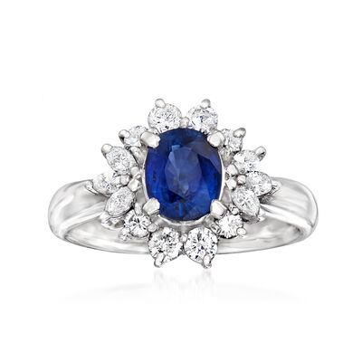 C. 1990 Vintage 1.41 Carat Sapphire and .66 ct. t.w. Diamond Ring in Platinum