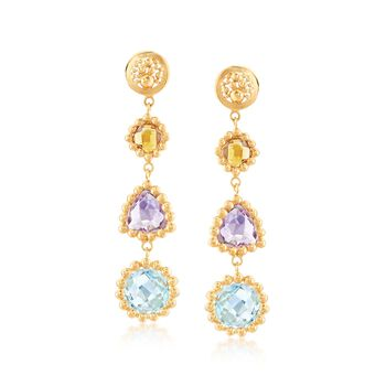 8.00 ct. t.w. Multi-Stone Drop Earrings in 18kt Yellow Gold Over Sterling Silver, , default
