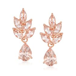 2.40 ct. t.w. Morganite Drop Earrings in Rose Sterling Silver, , default