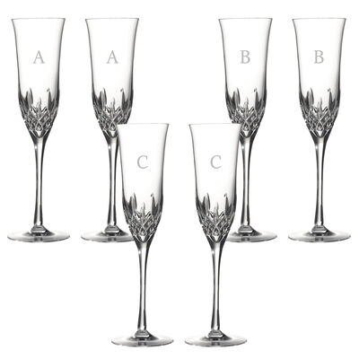 "Waterford Crystal ""Lismore Essence"" Set of 2 Block Initial Toasting Flutes, , default"