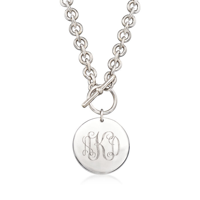 Italian Sterling Silver Personalized Disc Necklace