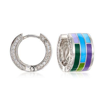 "Belle Etoile ""Strata"" Blue and Purple Enamel and .11 ct. t.w. CZ Hoop Earrings in Sterling Silver, , default"