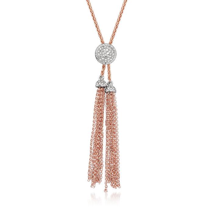 .29 ct. t.w. Diamond Circle Lariat Tassel Necklace in 14kt Rose Gold, , default