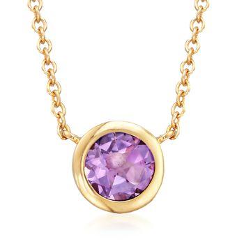 """.80 Carat Bezel-Set Amethyst Necklace in 18kt Gold Over Sterling. 16"""", , default"""
