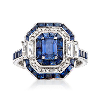 4.80 ct. t.w. Sapphire Ring with Diamond Accents in 14kt White Gold, , default