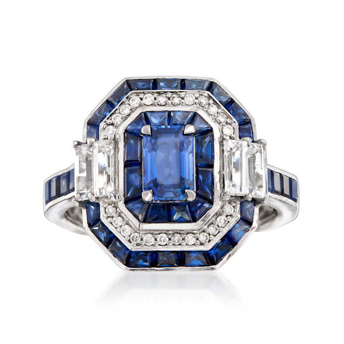 4.80 ct. t.w. Sapphire Ring with Diamond Accents in 14kt White Gold. Size 7