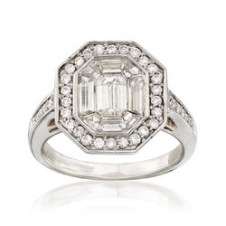 C. 2000 Vintage 1.70 ct. t.w. Diamond Octagon-Top Ring in 14kt White Gold, , default