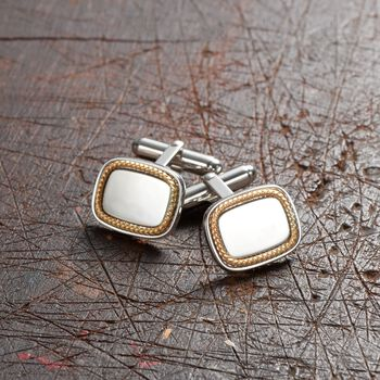 14kt Yellow Gold and Sterling Silver Personalized Cuff Links, , default