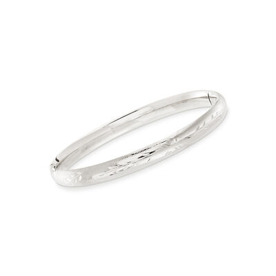 Baby's 14kt White Gold Floral Bangle Bracelet, , default