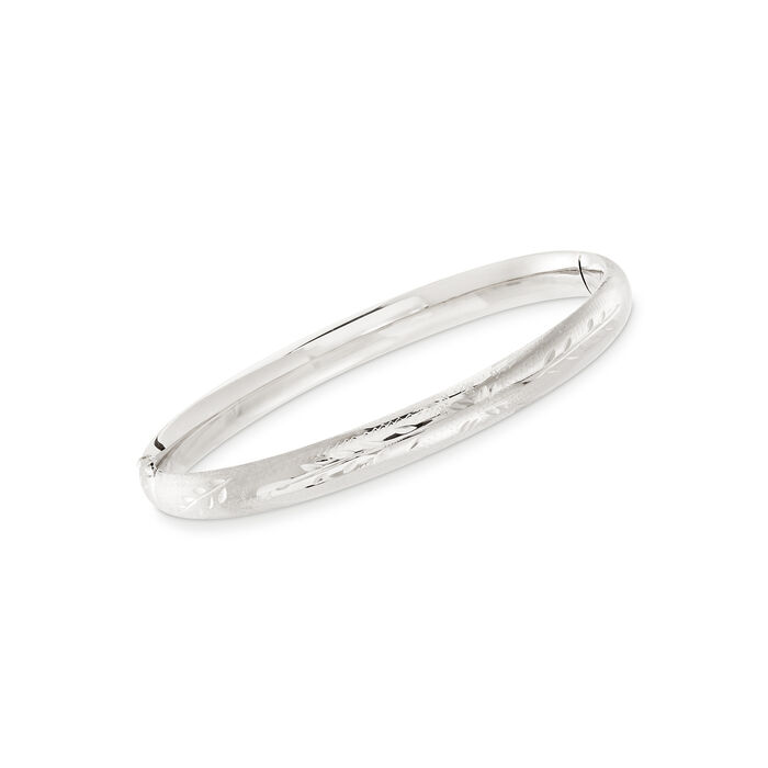 """Baby's 14kt White Gold Floral Bangle Bracelet. 5.5"""", , default"""