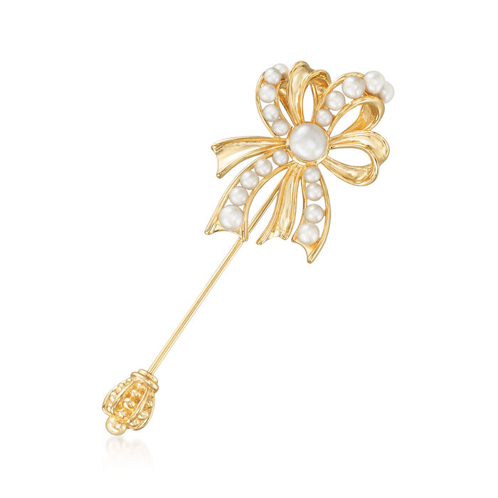 3-7.5mm Cultured Pearl Bow Stick Pin in 18kt Gold Over Sterling, , default