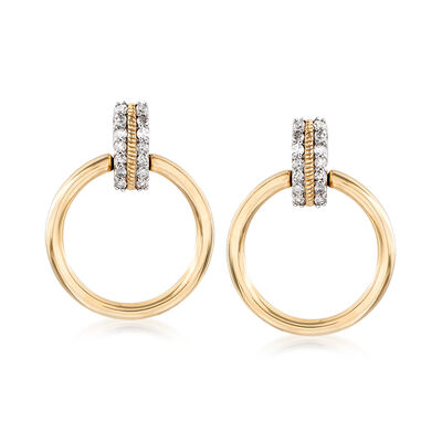 .15 ct. t.w. Diamond Circle Drop Earrings in 14kt Yellow Gold, , default
