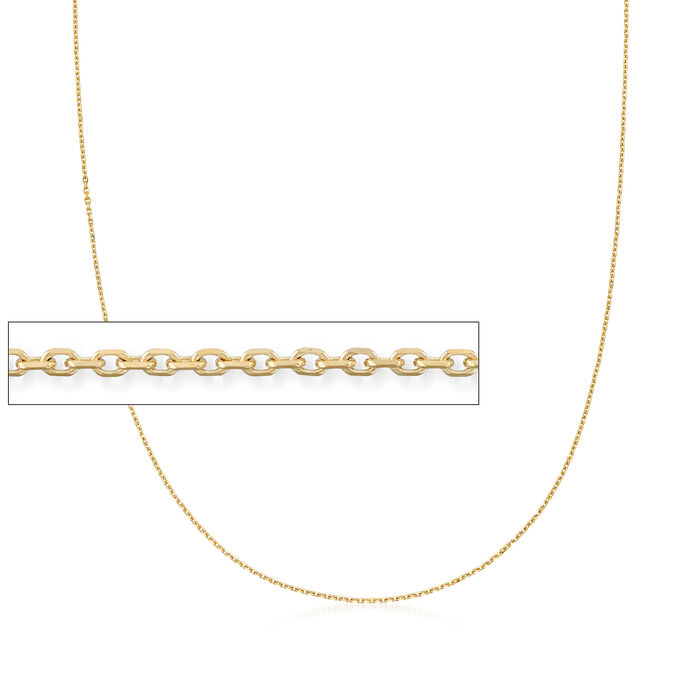 1.1mm 14kt Yellow Gold Cable Chain, , default