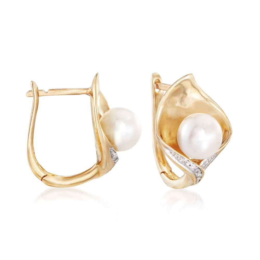 6 5mm Cultured Pearl Calla Lily Earrings With Diamond Accents In 14kt Yellow Gold