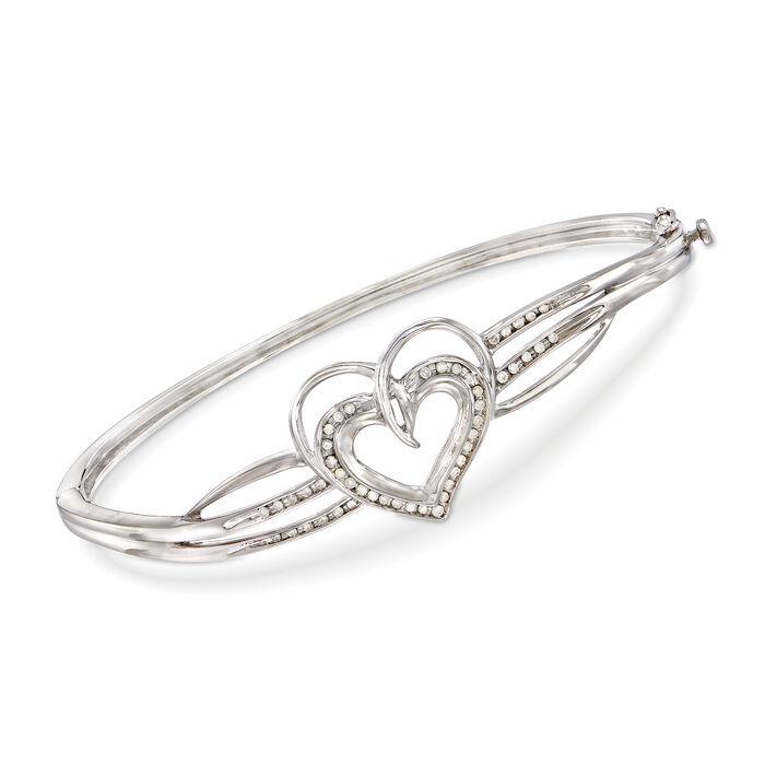 .25 ct. t.w. Diamond Heart Bangle Bracelet in Sterling Silver, , default