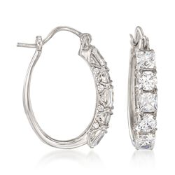 "3.56 ct. t.w. Princess-Cut and Round CZ Hoop Earrings in Sterling Silver. 1"", , default"