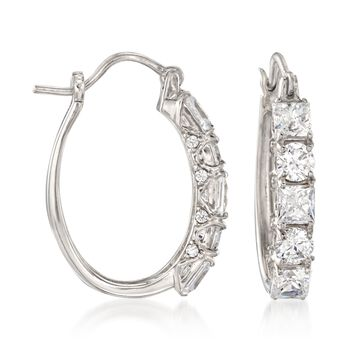 """3.56 ct. t.w. Princess-Cut and Round CZ Hoop Earrings in Sterling Silver. 1"""", , default"""