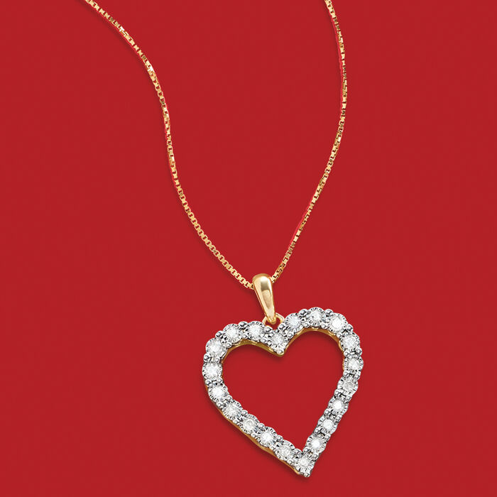 .30 ct. t.w. Diamond Heart Pendant Necklace in 18kt Gold Over Sterling