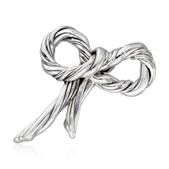Sterling Silver Bow Pin/Pendant, , default