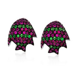 """C. 2000 Vintage 2.75 ct. t.w. Ruby and 1.00 ct. t.w. Tsavorite Earrings in 18kt White Gold. 1/2"""", , default"""
