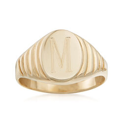 14kt Yellow Gold Oval Signet Ring, , default
