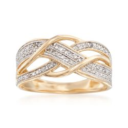 .27 ct. t.w. Pave Diamond Crisscross Ring in 14kt Yellow Gold, , default