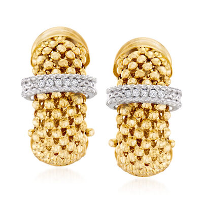 "Phillip Gavriel ""Popcorn"" .10 ct. t.w. Diamond Hoop Earrings in 14kt Yellow Gold"
