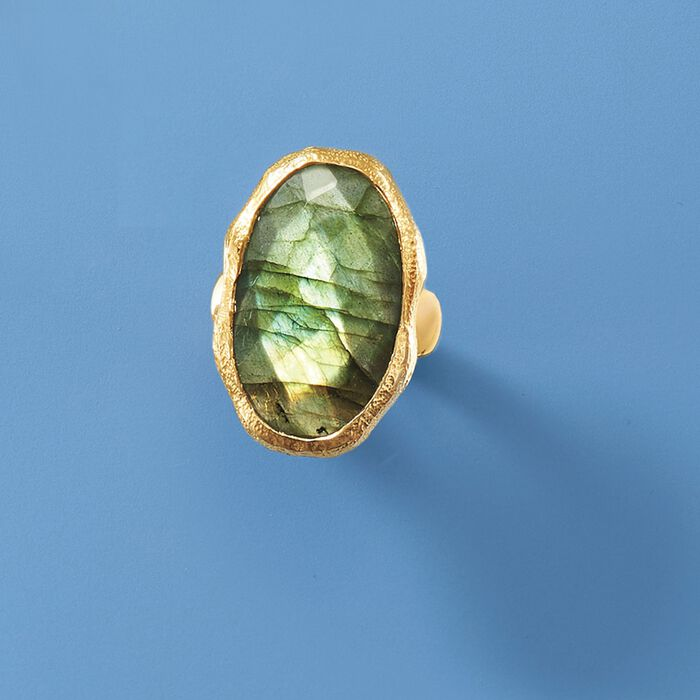 Oval Labradorite Textured and Polished Ring in 18kt Gold Over Sterling