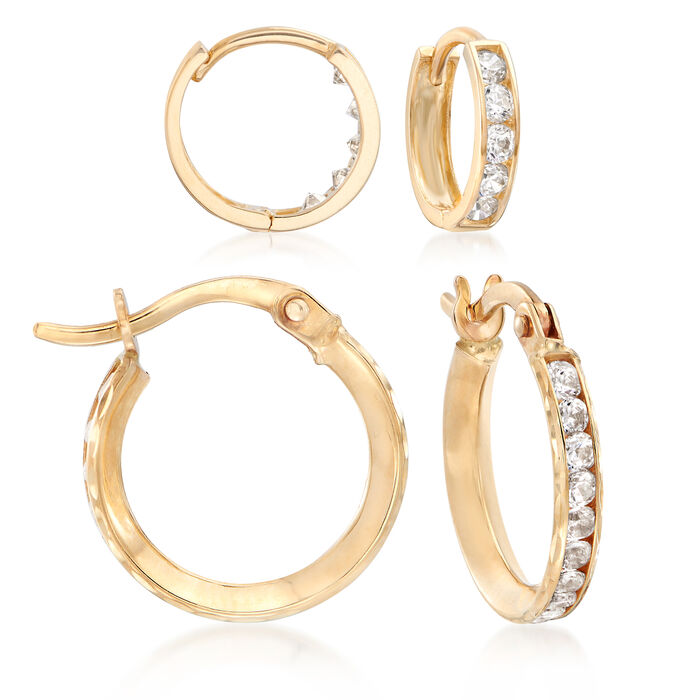 """Mom & Me 1.15 ct. t.w. CZ Hoop Earring Set of 2 in 14kt Yellow Gold. 3/8""""-1/2"""""""