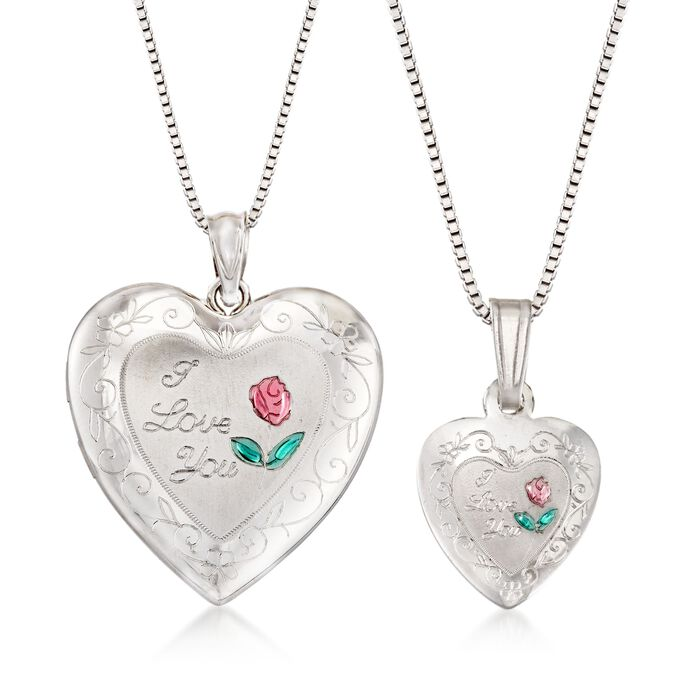 """Sterling Silver Mom & Me Jewelry Set: Two """"I Love You"""" Heart Necklaces"""