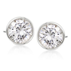 3.00 ct. t.w. Bezel-Set Diamond Stud Earrings in 14kt White Gold, , default