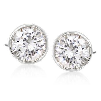 3.00 ct. t.w. Bezel-Set Diamond Stud Earrings in 14kt White Gold, , default
