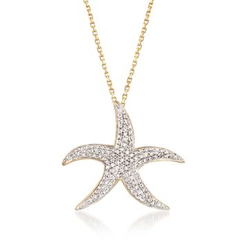 "Diamond Accent Starfish Pendant Necklace in Two-Tone Sterling Silver. 16"", , default"