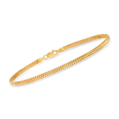 Italian 18kt Yellow Gold Mesh-Link Bracelet, , default