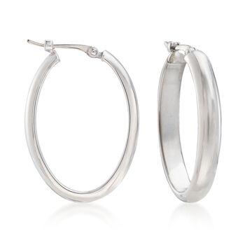 """Sterling Silver Medium Oval Hoop Earrings. 7/8"""", , default"""