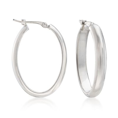 Sterling Silver Medium Oval Hoop Earrings, , default