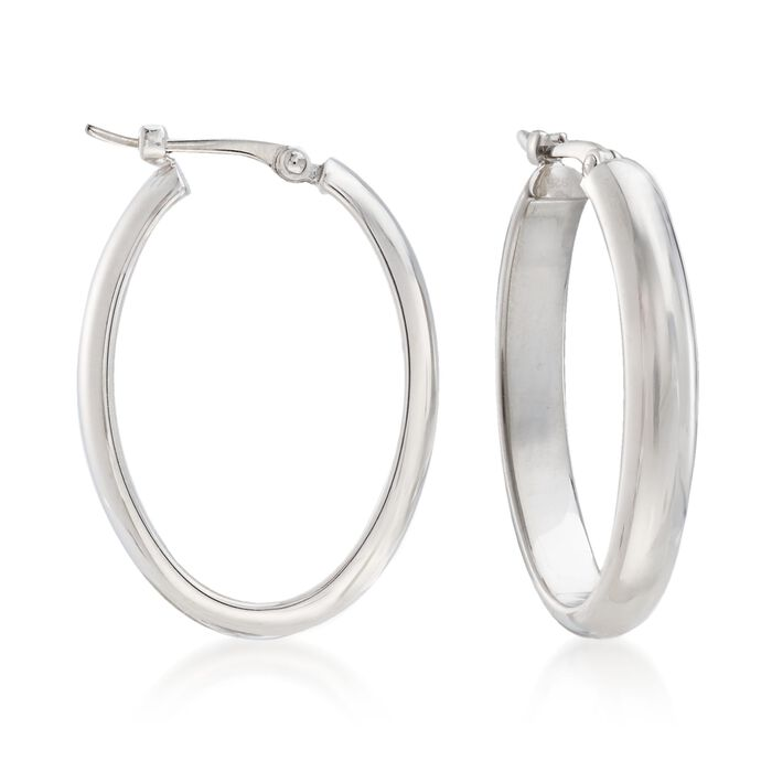 "Sterling Silver Medium Oval Hoop Earrings. 7/8"", , default"