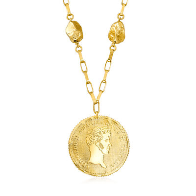 Italian 18kt Gold Over Sterling Silver Replica Coin Necklace