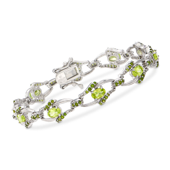 "4.50 ct. t.w. Peridot and 1.60 ct. t.w. Chrome Diopside Bracelet with Diamonds in Sterling Silver. 7.25"", , default"