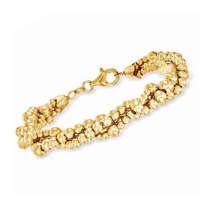 Italian 18kt Yellow Gold Over Sterling Silver Twisted Triple Strand Beaded Bracelet, , default