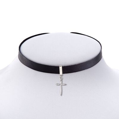 Black Ribbon Choker Necklace With Sterling Silver Cross , , default