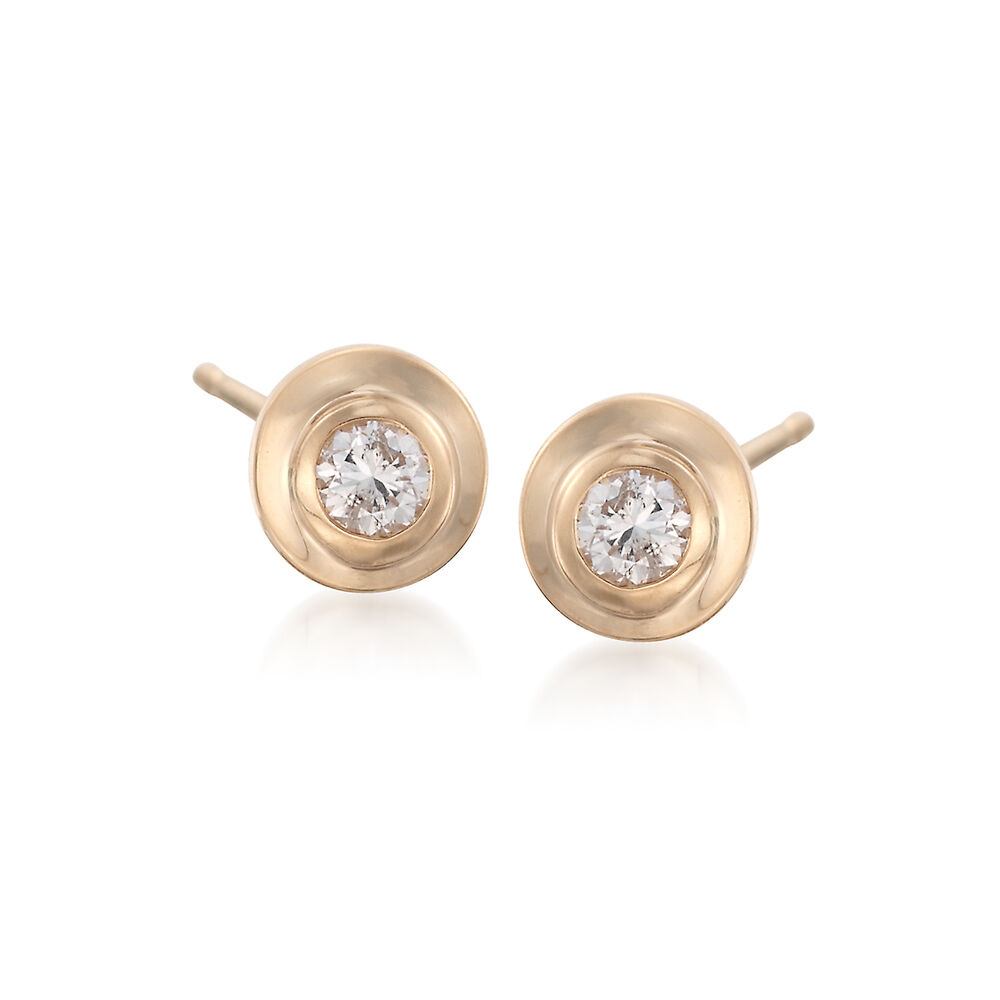 T W Double Bezel Set Diamond Stud Earrings In 14kt Yellow Gold