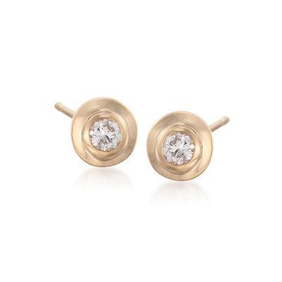 .12 ct. t.w. Double Bezel-Set Diamond Stud Earrings in 14kt Yellow Gold, , default