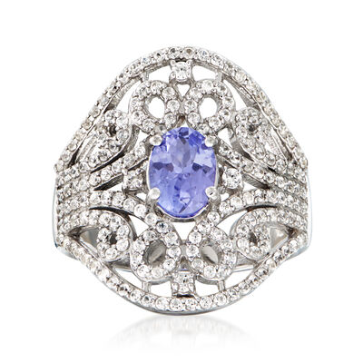 .70 Carat Tanzanite and 1.40 ct. t.w. White Zircon Ring in Sterling Silver, , default