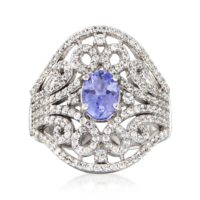 .70 Carat Tanzanite and 1.40 ct. t.w. White Zircon Ring in Sterling Silver